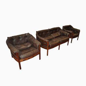 Vintage Sofa and Two Armchairs in Leather by Arne Norell