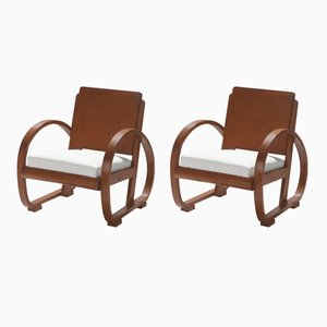 Modernist Armchairs by Michel Dufet, 1940s, Set of 2