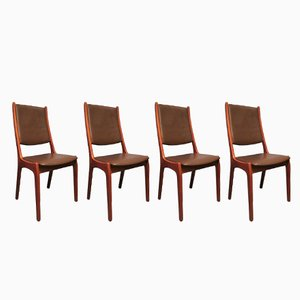 Teak & Leather Dining Chairs by Kai Kristiansen for KS Møbler, 1960s, Set of 4