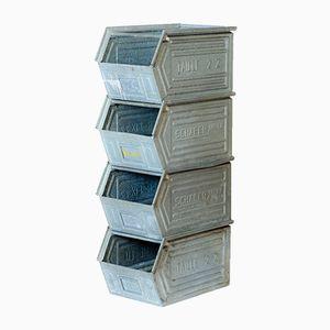Vintage Metal Industrial Storag Boxes, Set of 4