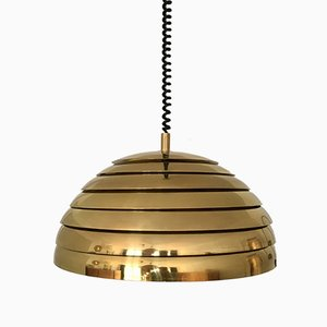 Large Brass Pendant Lamp with Slats from Vereinigte Werkstätten Collection, 1960s