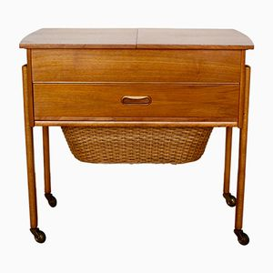 Mid-Century Walnut Veneer & Rattan Sewing Box, 1960s