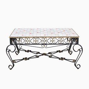 Wrought Metal & Ceramic Tile Coffee Table, 1971