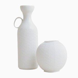 Mid-Century White Bisque Porcelain Vases from Royal Porzellan KPM Bavaria, Set of 2