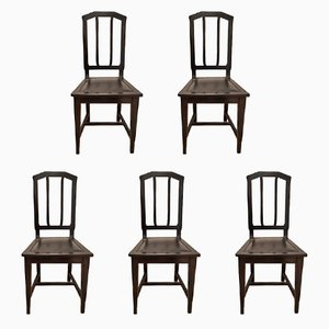 Vintage Art Nouveau Dining Chairs, Set of 5