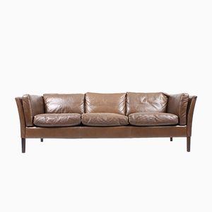 Braunes Dänisches Leder Sofa, 1980er