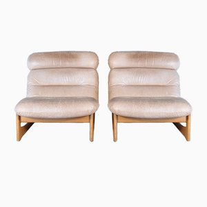 Mid-Century Modern Leather Lounge Chairs, Set of 2