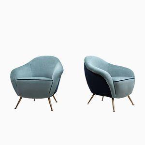 Mid-Century Italian 2-Toned Velvet Armchairs, Set of 2