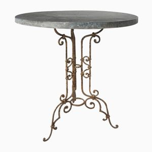 Antique French Small Wrought Iron Garden Patio Table with Zinc Top, 1890s