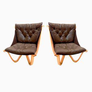 Vintage Stühle aus Leder & Bughholz von Georg Thams, 2er Set