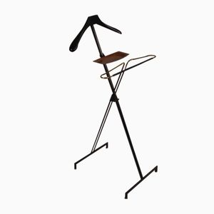 Mid-Century French Wood and Brass Coat Stand