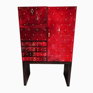 Bar Cabinet in Red Goats Leather by Aldo Tura, 1960s
