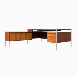 Vintage Executive Desk in Rosewood and Chrome