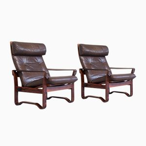 Vintage Scandinavian Adjustable Rosewood and Leather Lounge Chairs, Set of 2