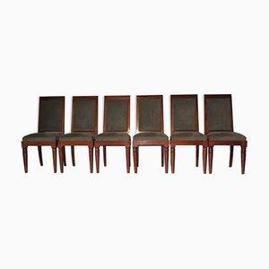 Französische Stühle aus Massivem Mahagoni von Gaston Poisson, 6er Set
