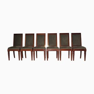 Vintage French Solid Mahogany Chairs from Gaston Poisson, Set of 6