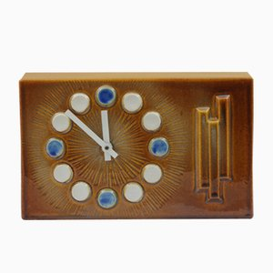 Pendule de Cheminée en Céramique Marron, 1970s