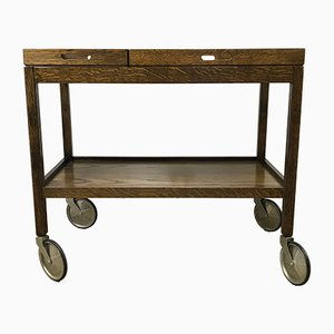 Vintage Dark Oak Serving Trolley from Wilhelm Renz