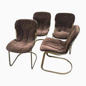 Vergoldete Italienische Stühle aus Metall mit Braunen Samtkissen, 1970er, 4er Set