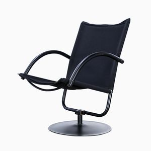 Black Canvas Swivel Chair, 1980s