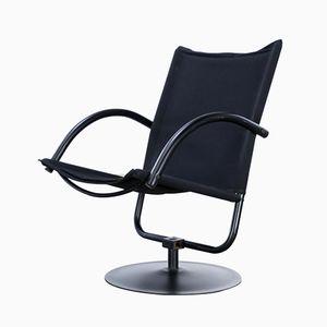 Sedia girevole con tela nera, anni '80