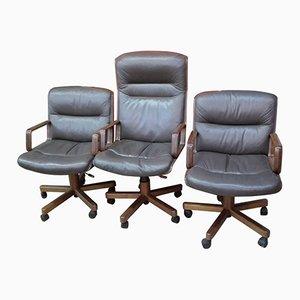 Armlehnstühle mit Hoher Rückenlehne und Holzgestellen, 1980er, 3er Set