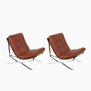 Eco Leather and Steel Armchairs from M.I.M, 1961, Set of 2