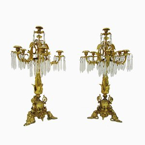 19th Century Gilt Bronze & Crystal Candelabras, Set of 2