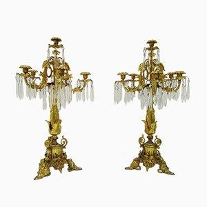 Vergoldetete Bronze & Kristallglas Kerzenständer, 19. Jh., 2er Set