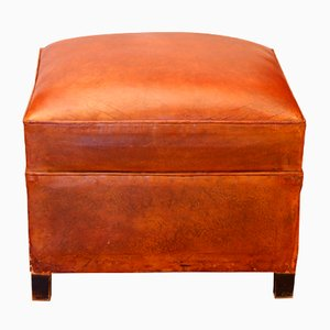 Art Deco French Cognac Leather Pouf, 1930s