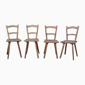 Chaises Rustiques Vintage en Bois, Set de 4