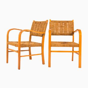 Beech Armchairs with Rope Seats, 1950s, Set of 2
