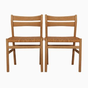 BM 1 Chairs in Oak and Cane by Børge Mogensen for C. M. Madsen, 1970s, Set of 2