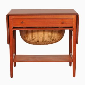 Vintage AT 33 Sewing Table in Teak by Hans J. Wegner for Andreas Tuck