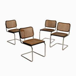 Mid-Century Italian Cesca Chairs with Vienna Straw Seats by Marcel Breuer for Gavina, Set of 4