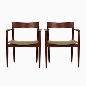 Armchairs in Walnut by Henry Rosengren Hansen for Brande Møbelindustri, 1960s, Set of 2
