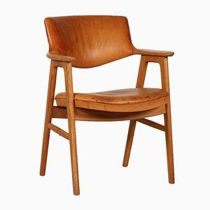 Armchair in Oak with Cognac Colored Leather by Erik Kirkegaard for Høng Stolefabrik, 1960s