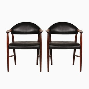 223 Armlehnstühle aus schwarzem Leder & Palisander von Kurt Olsen für Slagelse Møbelfabrik, 1960er, 2er Set