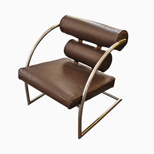 Vintage Chrome and Leather Armchair, 1930s