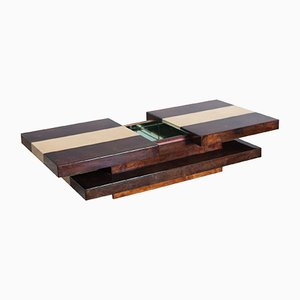 Vintage 2-Tiered Sliding Coffee Table with Hidden Bar by Aldo Tura