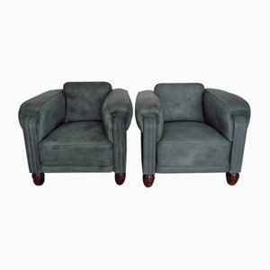 Art Deco Leather Club Chairs, 1920s, Set of 2