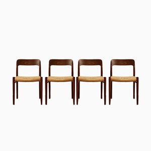 Danish Mid-Century 75 Teak Chairs by Niels O. Møller for J.L. Møllers, Set of 4