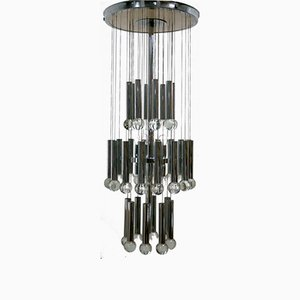 Chandelier in Chromed Metal and Crystal by Gaetano Sciolari, 1970s