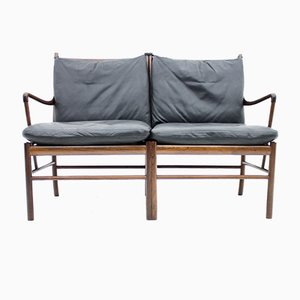 Colonial Sofa in Rosewood and Black Leather by Ole Wanscher for Poul Jeppesen, 1960s