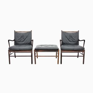 Colonial Lounge Chair & Ottoman by Ole Wanscher for Poul Jeppesen, 1960s