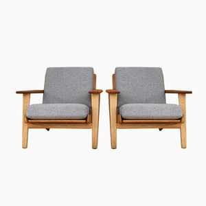 Oak GE-290 Lounge Chairs by Hans Wegner for Getama, 1953, Set of 2
