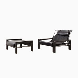 Brutalist Leather Lounge Chair & Ottoman by Sonja Wasseur, 1970s