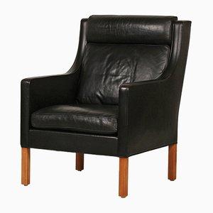 Dänischer Schwarzer Leder & Eichenholz 2431 Modell Wing Stuhl von Børge Mogensen für Fredericia Furniture, 1970er
