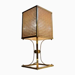 Brass & Rattan Table Lamp, 1970s