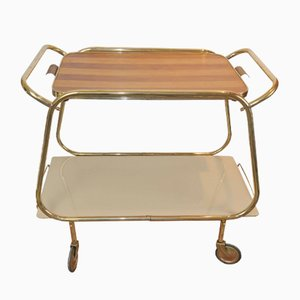 Mid-Century Brass & Glass Tea Trolley, 1950s